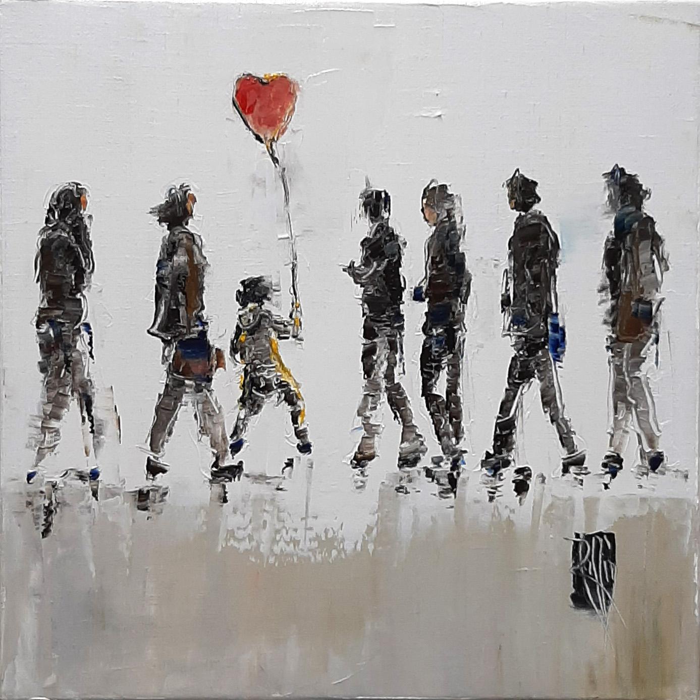 Ballon rouge - Huile sur toile - 30x30 cm