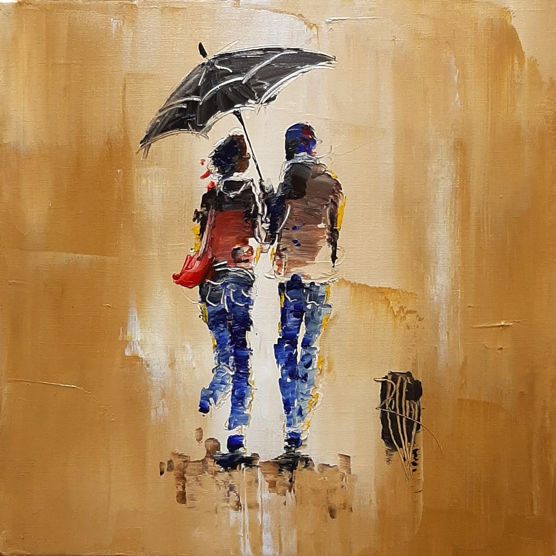 Petite pluie - Huile sur toile - 30x30 cm