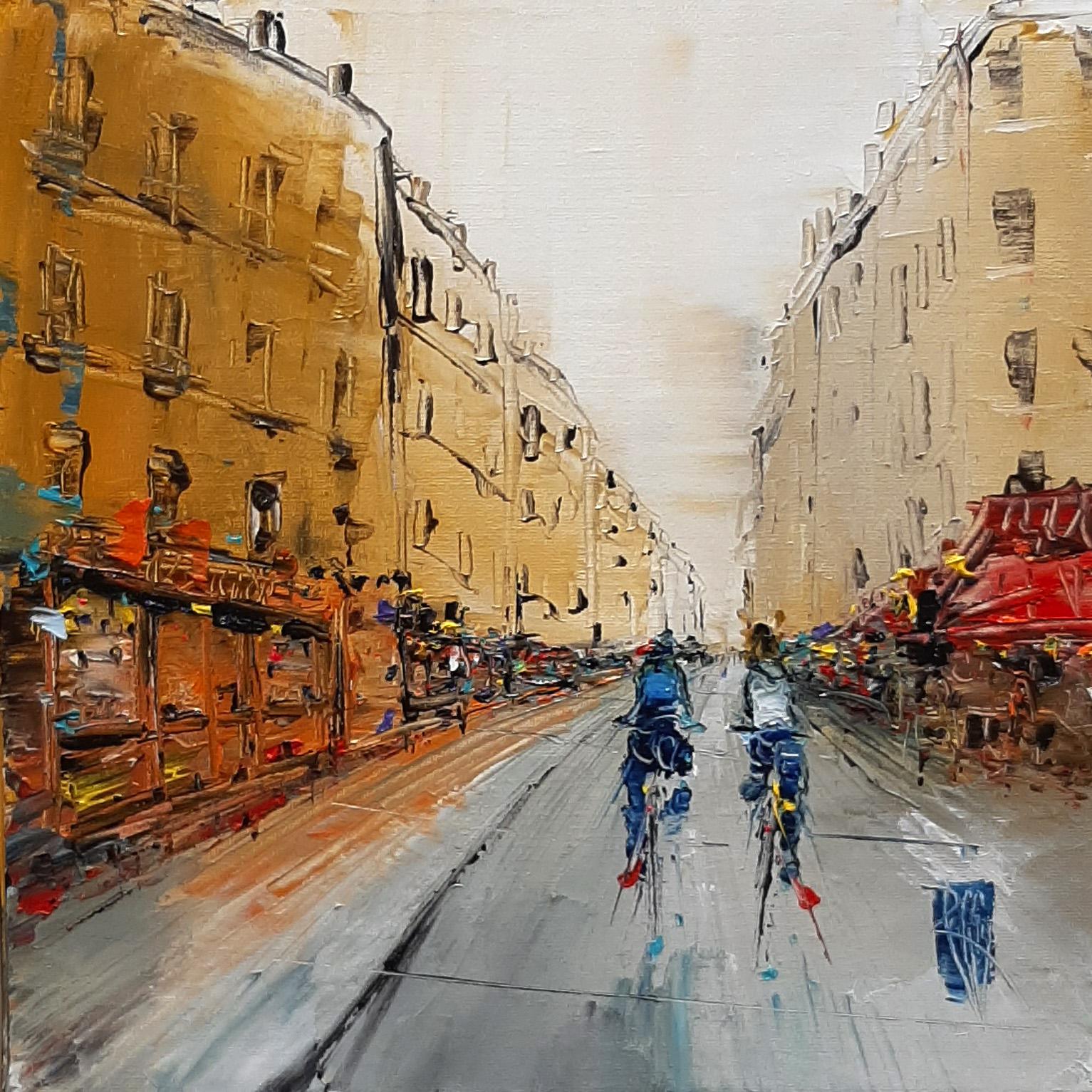 Grande rue - Huile sur toile - 30x30 cm